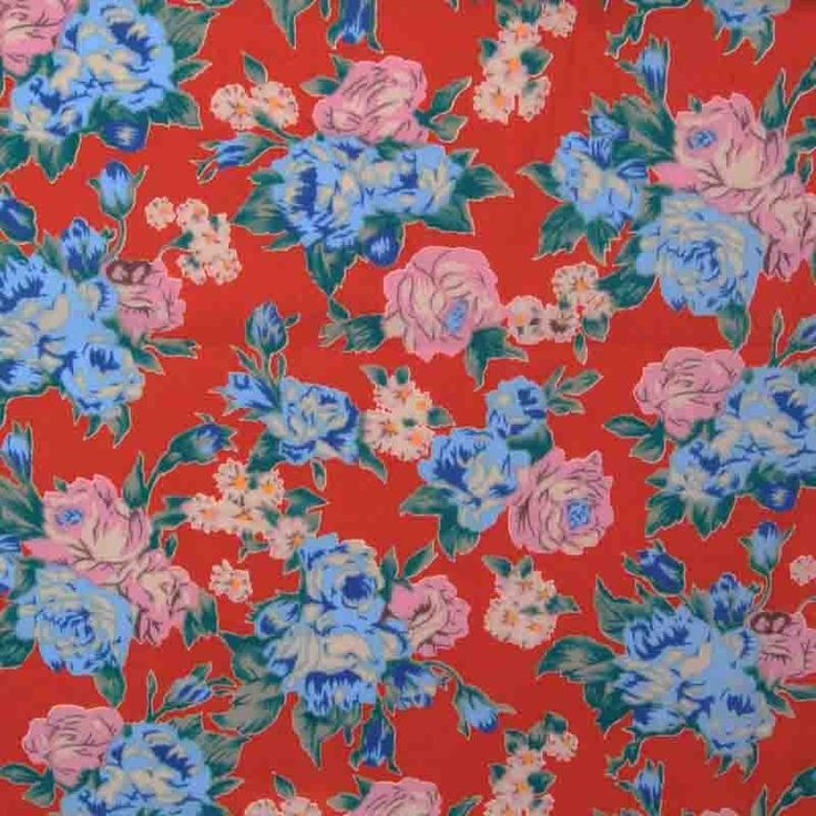 Print Cotton Lawn Design 20 Floral Deep Orange Blue 150cm