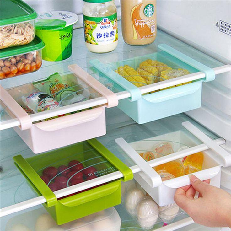 Ekonomi kulkas kotak penyimpanan segar spacer lapisan penyimpanan persediaan dapur kreatif kedutan jenis laci
