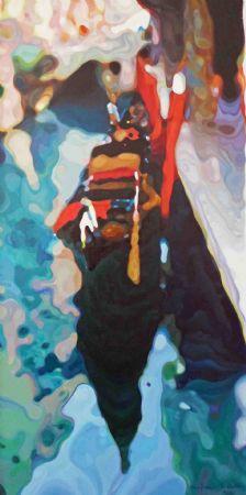 "Gondola in Venice, Italy, Oil on Canvas, W: 310mm x H: 610mm x D: 40mm, W: 12"" x H: 24"" x D: 2"" #Art #Painting #Oil #Fine_Arts #Contemporary #Benjamin_Mitchley #Figurative #Male #South_Africa #Urban_Art #Venice"