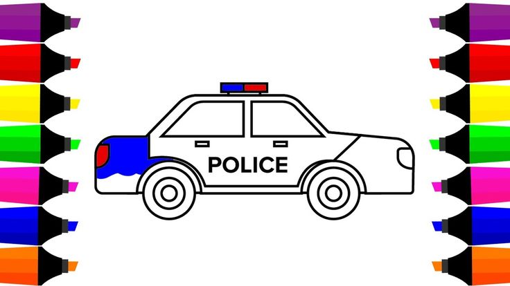 How to Draw a Police Car Coloring Pages, Learn Colors for Kids with Colo...