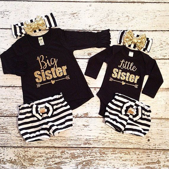 Big Sister Little Sister set shirt and by AdornedBabyBoutique