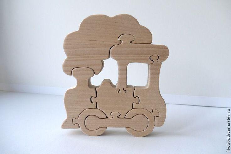 """Купить Пазл """"Паровозик"""" - бежевый, Пазл, пазлы, пазлы из дерева, деревянные пазлы, головоломка, игрушка"""