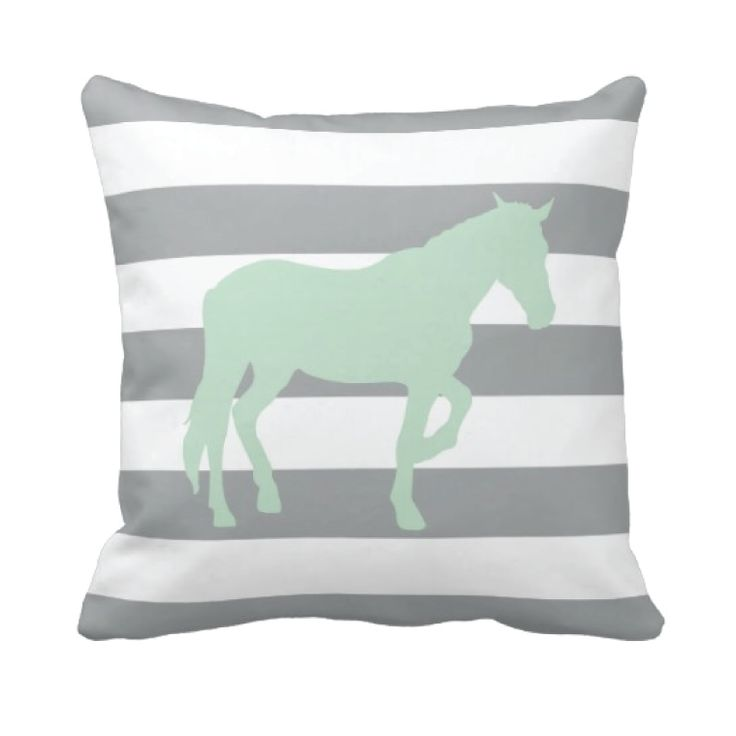 Our custom horse throw pillow with rugby stripes is perfect for your bedroom or dorm room.  You can customize it in any of the colors from our palette or order it in the mint and grey combo shown.  Perfect for boys and girls equestrian themed rooms.