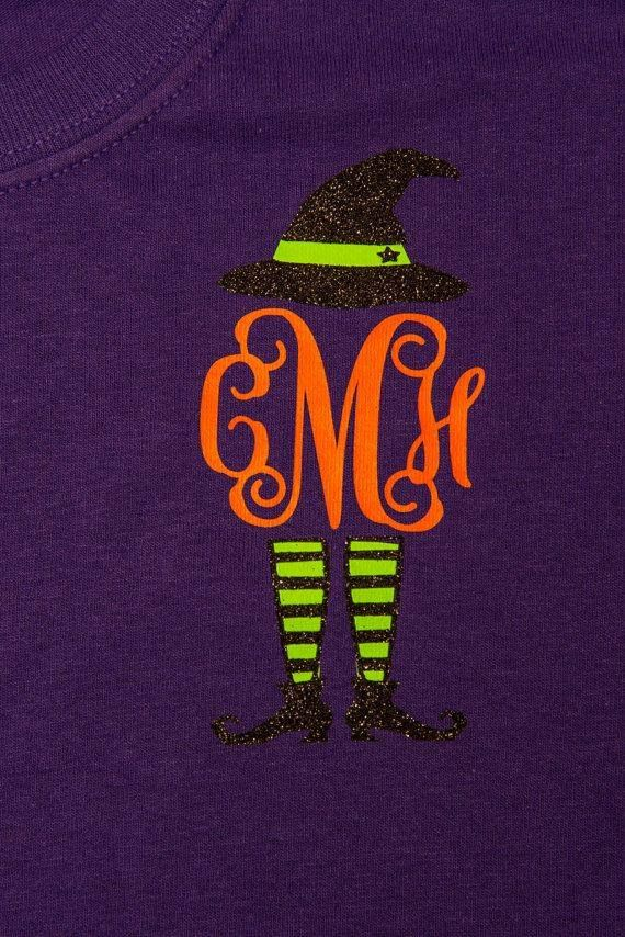Halloween witch personalized monogram heat transfer vinyl on shirt.