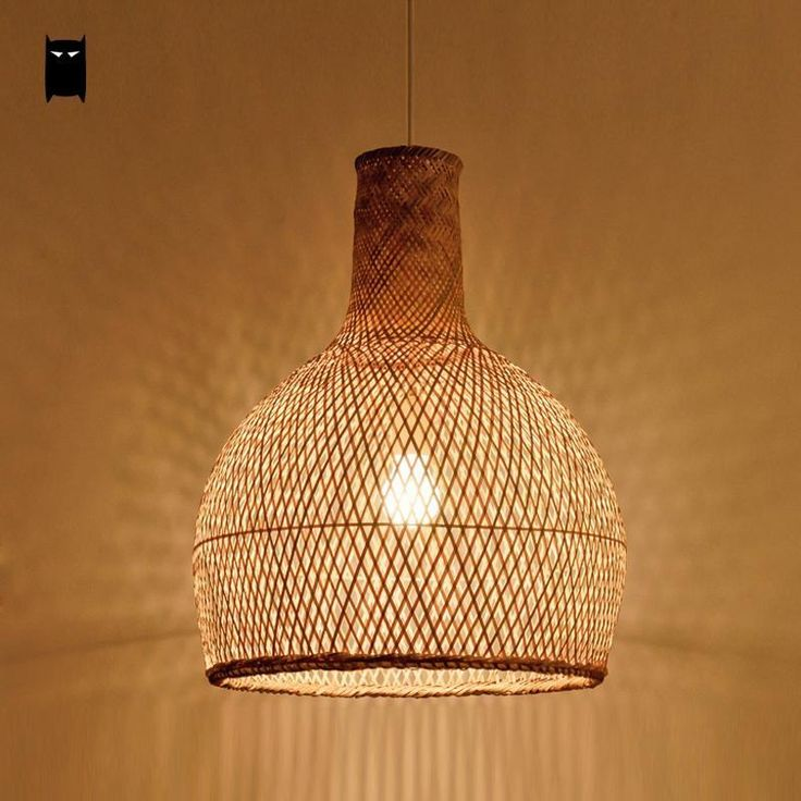 Bamboo Wicker Rattan Cage Shade Pendant Light Fixture Asian Ceiling Hanging Lamp #Soleilchat #Asian