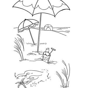 Beach Vacation Lovely Umbrella On A Sandy Coloring Page