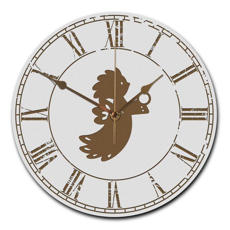 """Wanduhr rund Sauseengel aus MDF  Weiß - Das Original von Mr. & Mrs. Panda.  Eine wunderschöne runde Wanduhr aus hochwertigem MDF Holz mit goldenen Zeigern und absolut lautlosem Uhrwerk    Über unser Motiv Sauseengel  Das Wort """"Engel"""" bedeutet Bote/als Gesandter. Ein Engelchen steht als Beschützer, als Himmelsgesandter und soll Glück und Zuversicht bringen. Als Schutzengel soll er dem Beschenkten helfen, mit besonderen Lebensanforderungen fertig zu werden. Nicht nur zur Weihnachtszeit sind…"""