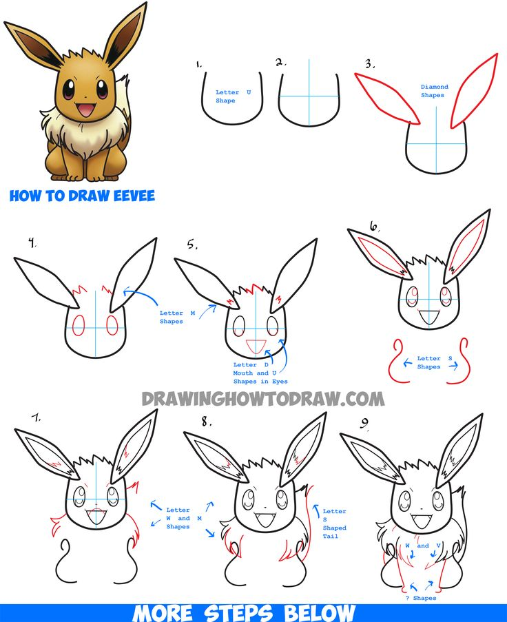 Learn How to Draw Eevee from Pokemon (and Pokemon Go) with Simple Steps Drawing Lesson