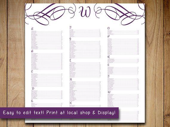 free printable wedding seating chart template