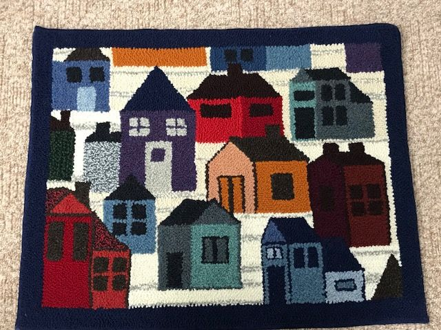 """Block Party Large"" handmade punchneedle wool rug. This rug measures 25"" x 32"". I use only 100% Canadian wool from PEI & NB. $350.00"