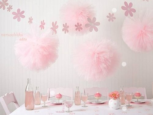 Love the big tulle poms for party decoration