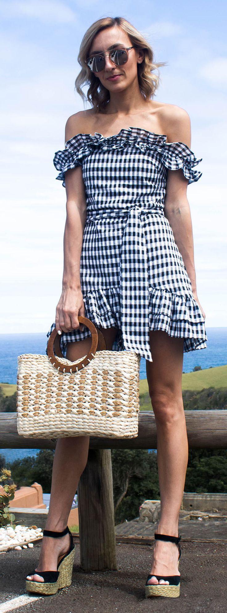 Gingham Dress, gingham frill, summer dress, black and white gingham dress, summer dress, summer style, straw bag, beach bag, black wedges, monochrome outfit @thelustlife_