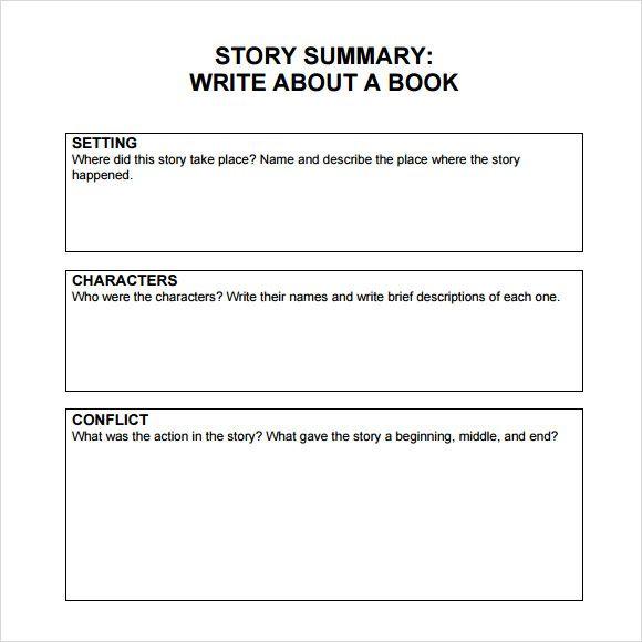 Book Summary Template Middle School | Book summary | Book