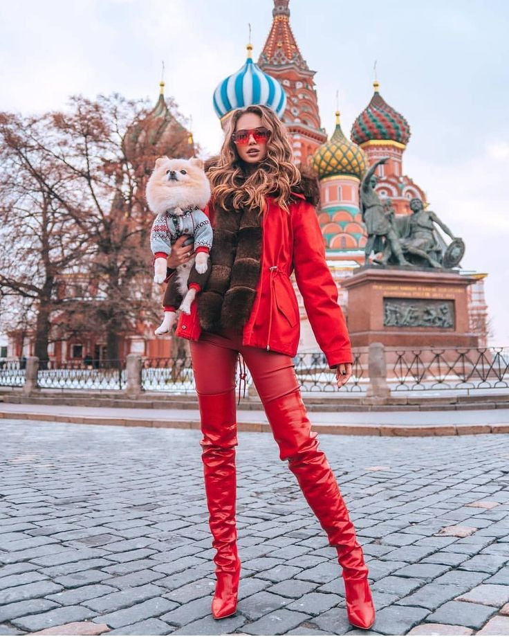 Red patent thigh high boots
