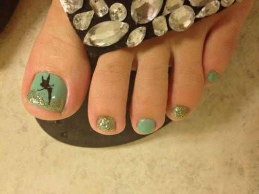disney toe nail art tinkerbel