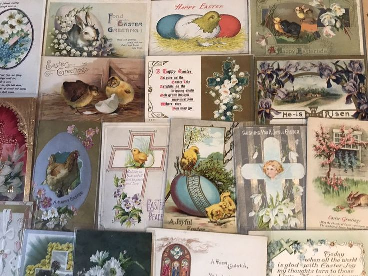 NICE LOT OF 25 VINTAGE  EASTER HOLIDAY POSTCARDS-CHICKS,BUNNY,-1900's-p262 #Easter