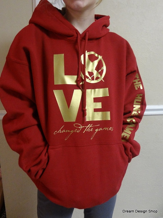 Hunger Games Hoodie LOVE changed the games Red by DreamDesignShop, $28.00-- :D
