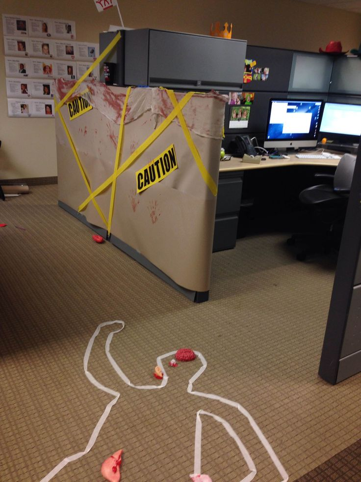 Cube decorating contest in the office. Happy Halloween! Crime scene