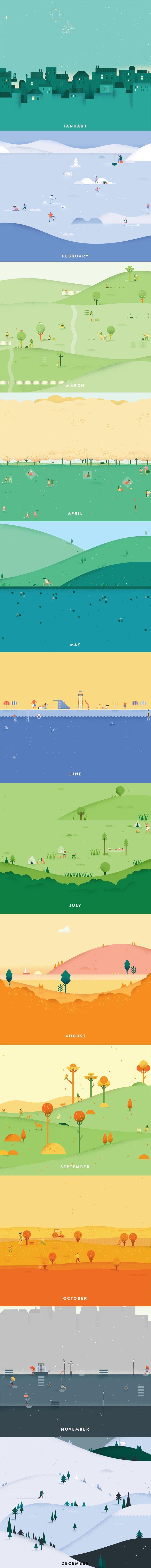 Google Calendar Header Illustrations by Lotta Nieminen