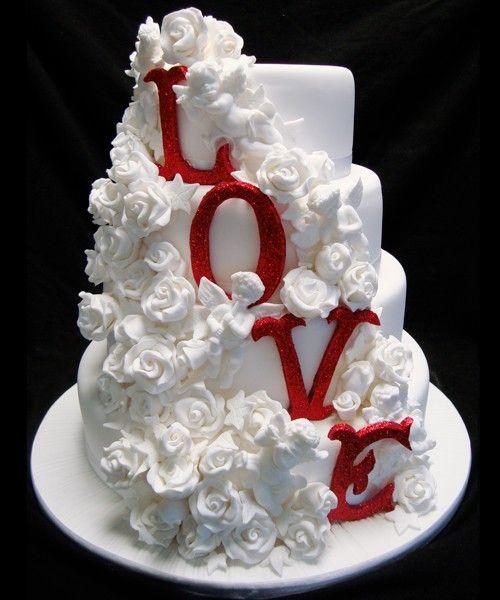 """""""LOVE"""" this cake! Perfect for a valentines day wedding"""