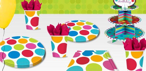 Decorazioni Pois colorati per compleanni con VegaooParty