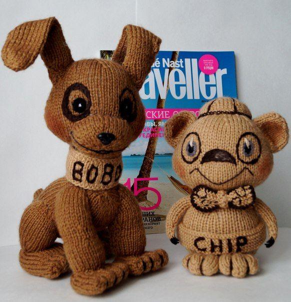 Щенок Бобо и хомячок Чип связаны на заказ и улетели в далекий штат Джорджия) Игрушки связаны спицами из полушерстяной пряжи.