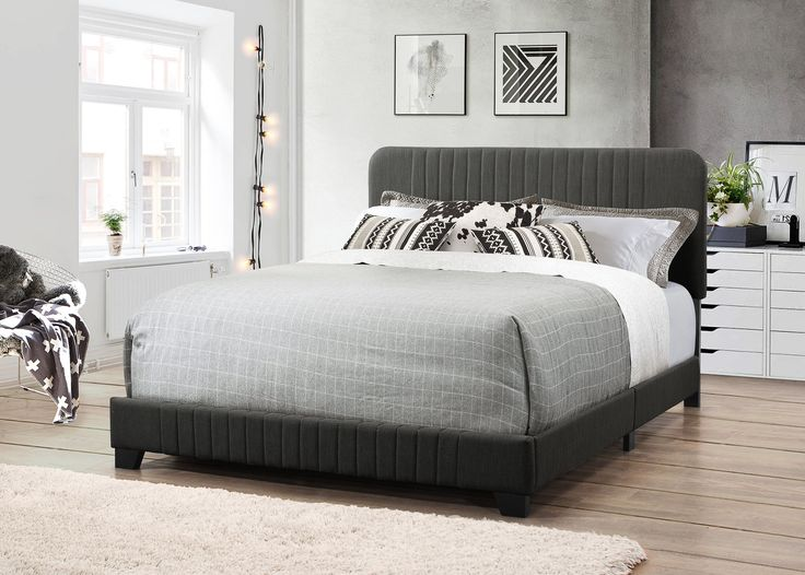 Delp Mid-Century All-in-One Upholstered Panel Bed