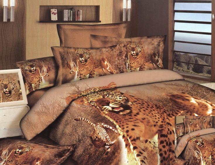 Bawełniana pościel w kolorze beżowym z tygrysem