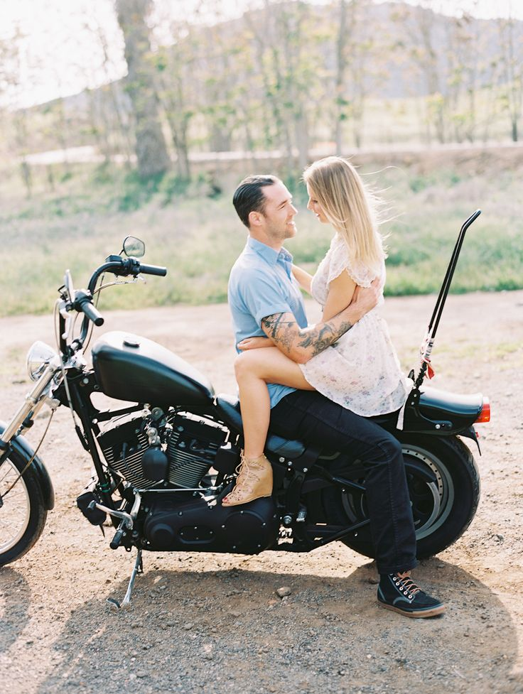 Motorcycle love shoot   Photography: Carmen Santorelli Photography - carmensantorellistudio.com Read More: http://www.stylemepretty.com/california-weddings/2014/06/05/motorcycle-love-session/