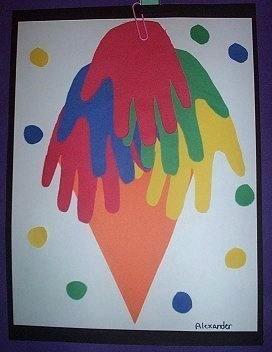 Construction Paper Handprint Ice Cream Cone