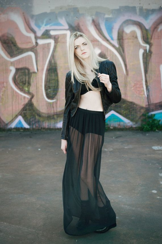 Long sheer maxi skirt  night black chiffon with by murmuration - Do not think I could ever wear it but love how much fun they had with this fashion ♥
