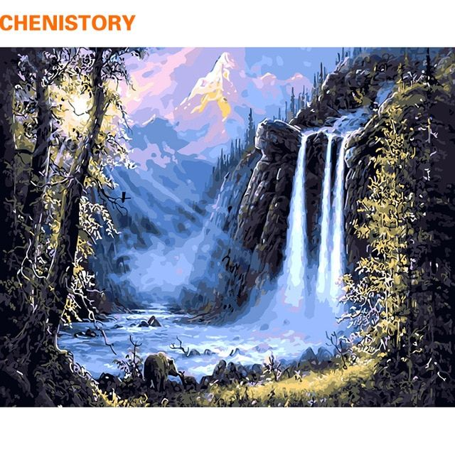 Chenistory Mountain Waterfall Landscape Diy Painting By Numbers Kits Drawing Modern Wall Art Picture For Home Decor 40x50cm Arts Review Waterfall Paintings Wall Art Pictures Wall Art Canvas Painting