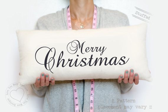 Merry Christmas - cotton pillow - our first Christmas together - Christmas 2014 - Christmas family pillow, cursive type font, typography