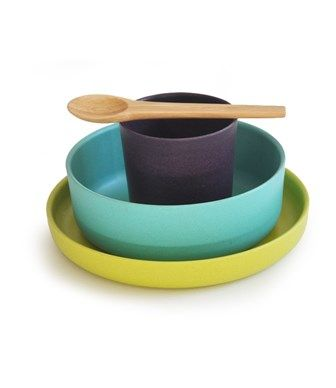SET PER LA PAPPA IN BAMBOO LIME - BIOBU BY EKOBO - Kiddy Kabane