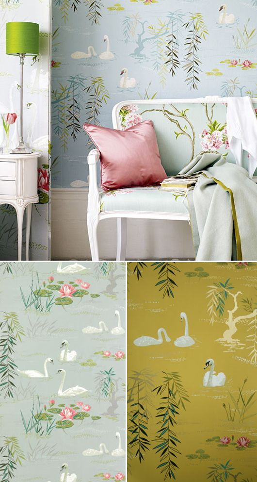 The white/ivory or the pinks, not the yellows or oranges  Swan lake wallpaper by Nina Campbell via sfgirlbybay.