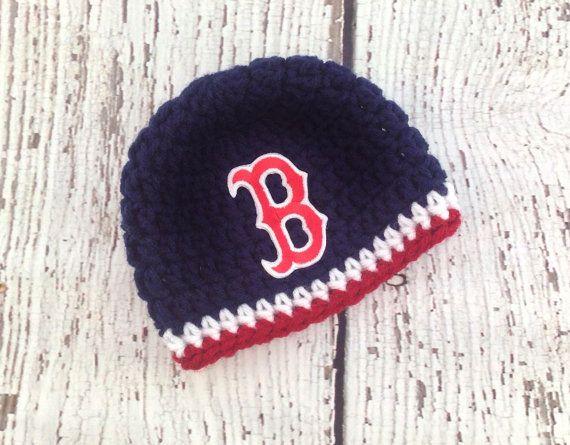 Baby Boston Hat, Baby Girl Hat, Baby Boy Hat, Boston Baseball Hat, Red Socks Hat, Newborn Hat, Newborn Prop, Photo shoot, Crochet Baby Hat