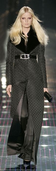 Gucci coat with mink collar trim.