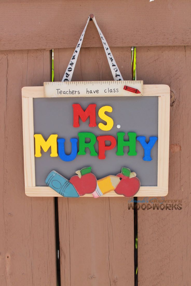 Personalized Teacher Door Sign, Teacher Appreciation Gift, Custom Teacher Gifts, Classroom Decor, Custom Teacher Name Sign by AmandasWoodWorks on Etsy https://www.etsy.com/listing/128153743/personalized-teacher-door-sign-teacher