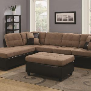 Chocolate Brown Microfiber Small Sectional Sofa With Reversible Chaise  Ottoman