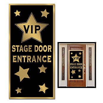 This VIP Stage Door Entrance Door Cover is black and gold and features stars on the background with a VIP logo and the words STAGE DOOR ENTRANCE.