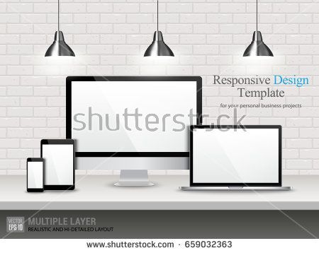 Realistic Computer, Laptop, Tablet and Mobile Phone with White or Blank Wallpaper Screen Isolated on Vintage Brick Wall. Set of Device Mockup Separate Groups and Layers. Easily Editable Vector.