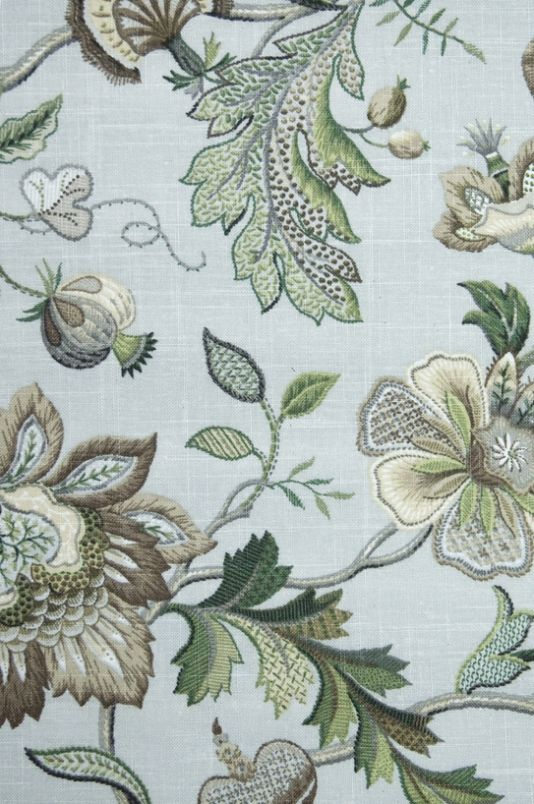 Langrish Linen Fabric A printed 18th Century embroidery style design fabric in greens, creams and taupes, with a light aqua background.