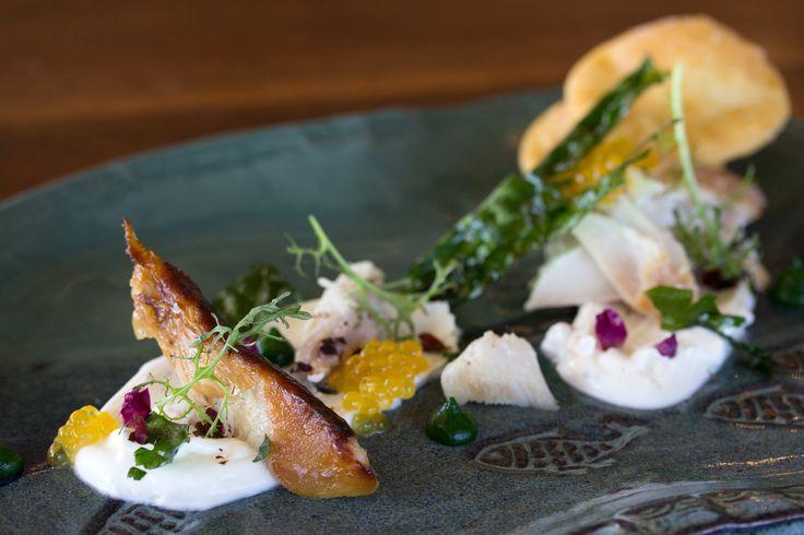 """unknown fish"" - juniper smoked inconnu, dandelion, char caviar, fried bannock + Arctic rose cream — at Canoe from the Taste 60th Parallel tasting menu at #Canoe #Toronto #Restaurant"