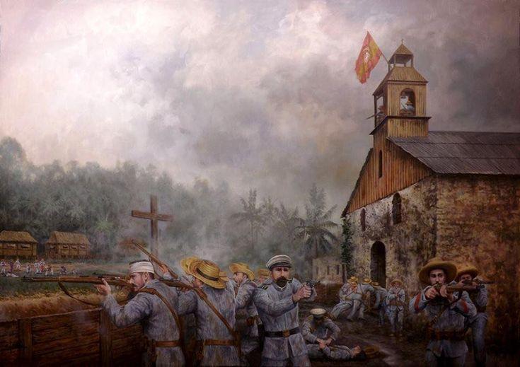 """Los héroes de Baler o """"Los últimos de Filipinas"""", un destacamento de 50 soldados españoles que resistió totalmente aislado durante 337 días a fuerzas muy superiores, entregando las armas solo cuando una delegación española pudo convencerles de que la guerra había acabado. Sufrieron 17 bajas pero causaron unas 700 entre los sitiadores. Obra cortesía de Ferré Clauzel. http://www.elgrancapitan.org/foro/viewtopic.php?f=21&t=11680&p=932820#p932740"""