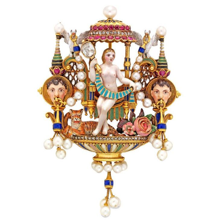 Карло Джулиано эпохи Возрождения-Возрождение эмали бриллиант Рубин жемчуг золото брошь | 1stdibs.com