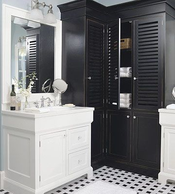 The Art Gallery Black u White bathroom modern bathroom design image Perfect for the bath love this bathroom storage