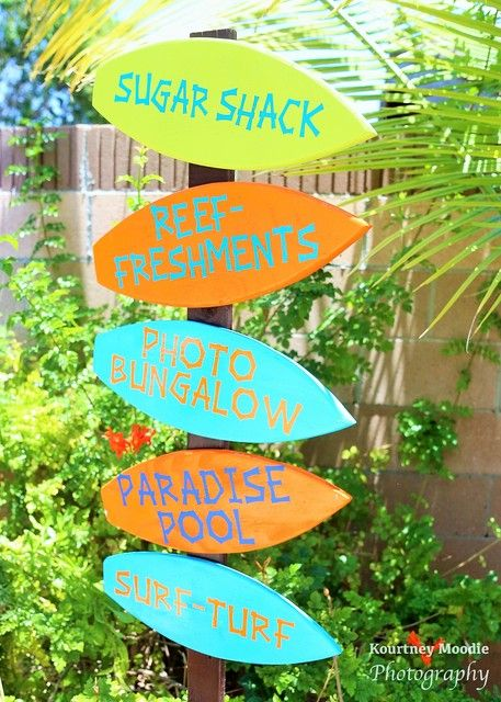 Surf's Up Birthday Party signs! See more party ideas at CatchMyParty.com!