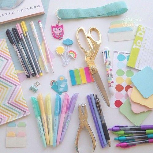 PlannerDarling | primary planning supplies  goodies! (@plannerdarling on Instagram) #stationery #filofax #planner