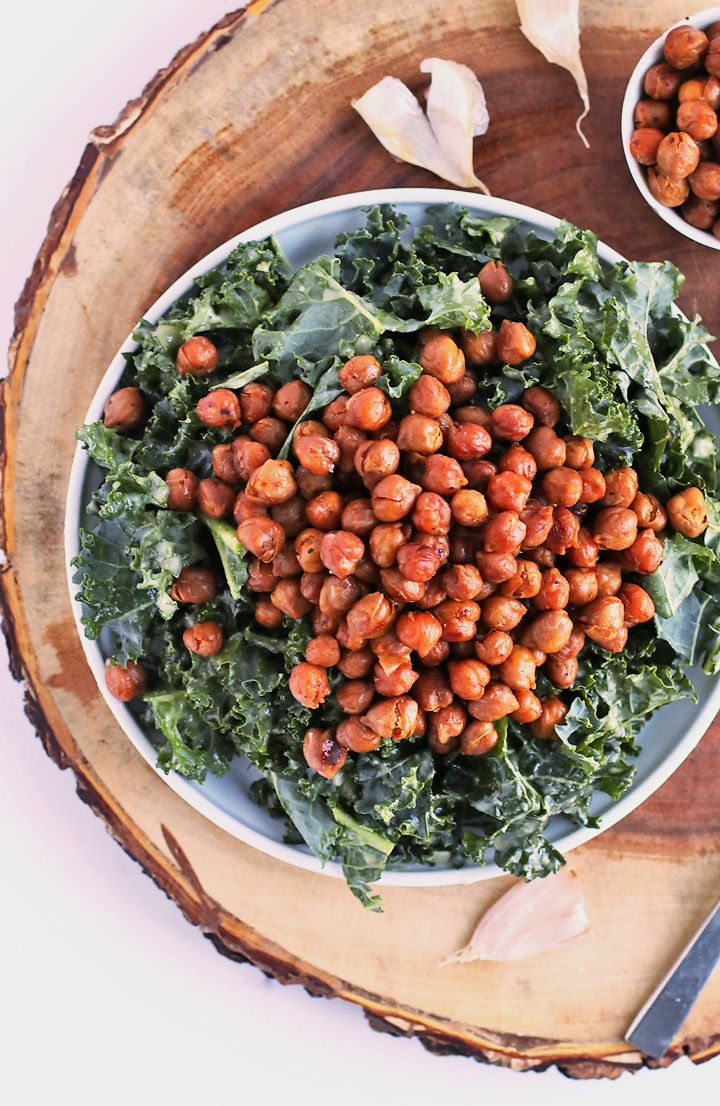 Enjoy this Kale Salad with Bacon Chickpeas and Garlic Dijon Vinaigrette for a light vegan and gluten-free meal that the whole family will love.