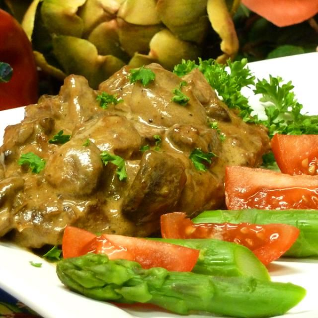 Mushrooms, wine, cream, sour cream, and seasonings make an amazing pan sauce for pork loin steaks. Fast and easy to make.